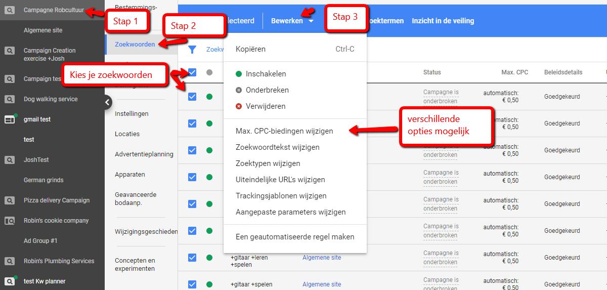 Google Adwords instellingen voor beste bod